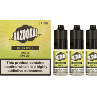 Green Apple By Bazooka Sour Straws (Pack Of 3 X 10ml) 3mg  E-liquids