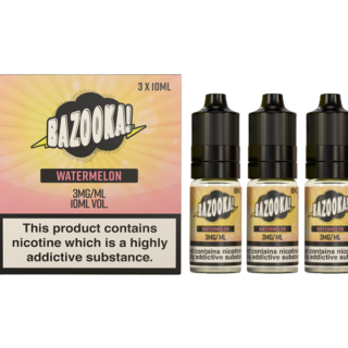 Watermelon By Bazooka Sour Straws (Pack Of 3 X 10ml)3mg