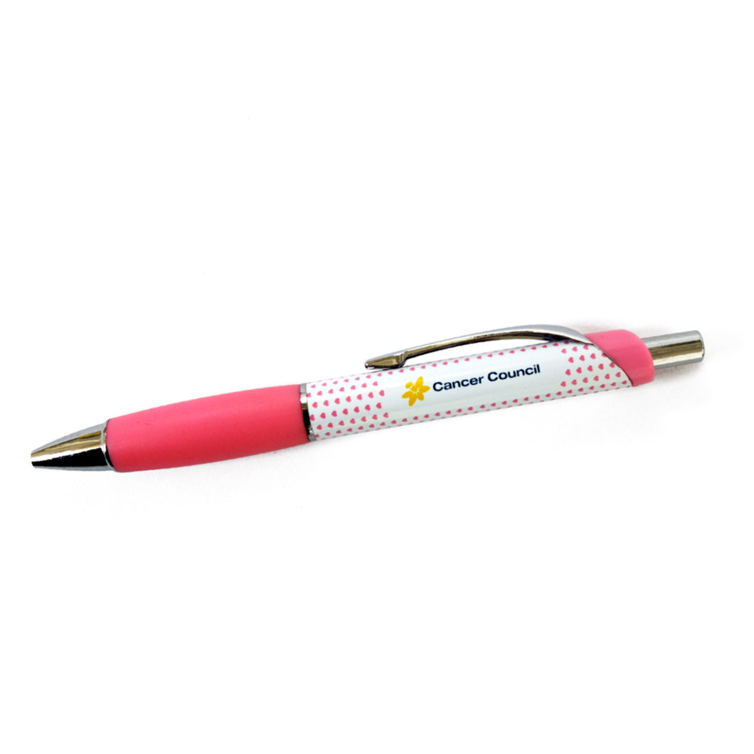 Heart spotted pink pen