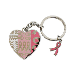 Heart shaped silver and pink keyring