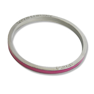 Silver and pink bangle