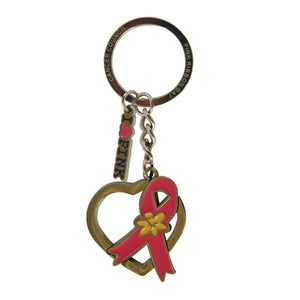 Heart shaped Pink Ribbon silhouette keyring
