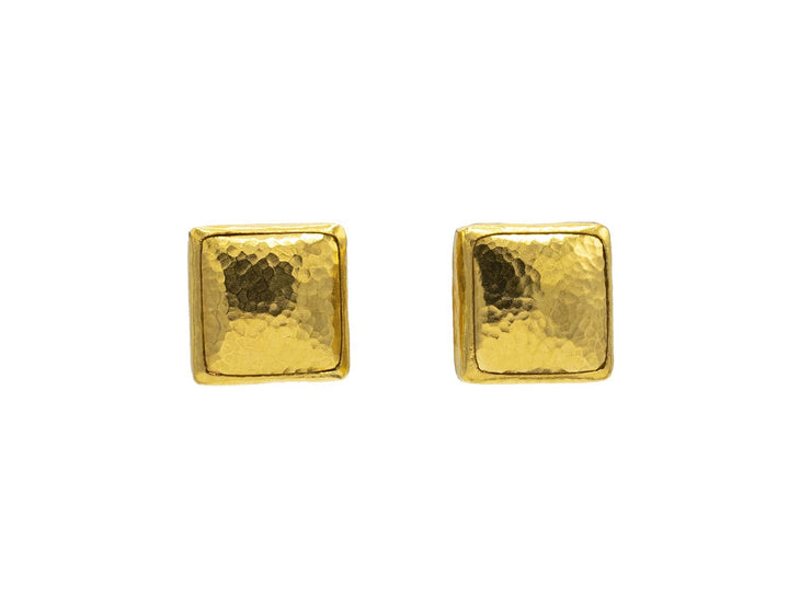 Amulet Gold Stud Earrings, 15mm Square, with No Stone
