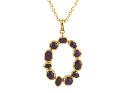 GURHAN One-of-a-Kind Pointelle Gold Necklace, Pendant with Ruby-Necklace-GURHAN-24k-gold-pure-gold-luxury-gold-24-karat-gold