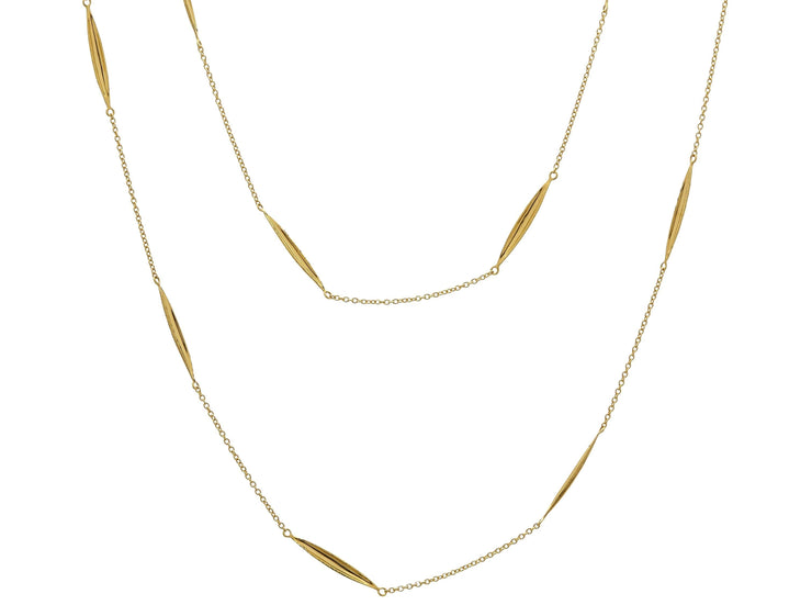 GURHAN Wheat Gold Necklace, long Station with No Stone-Necklace-GURHAN-24k-gold-pure-gold-luxury-gold-24-karat-gold