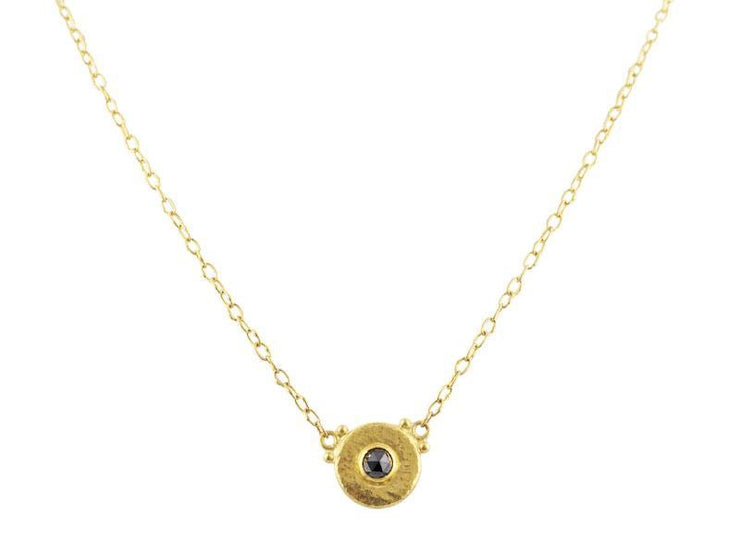 GURHAN Droplet Gold Necklace, Round, Pendant with Black Diamond
