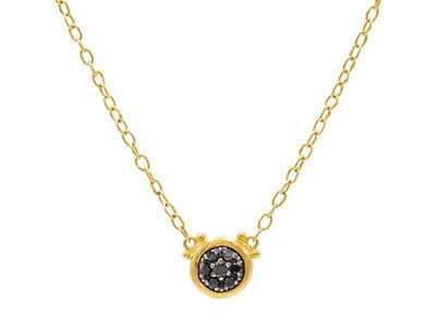GURHAN Droplet Gold Necklace, Small Pave, Pendant with Black Diamond