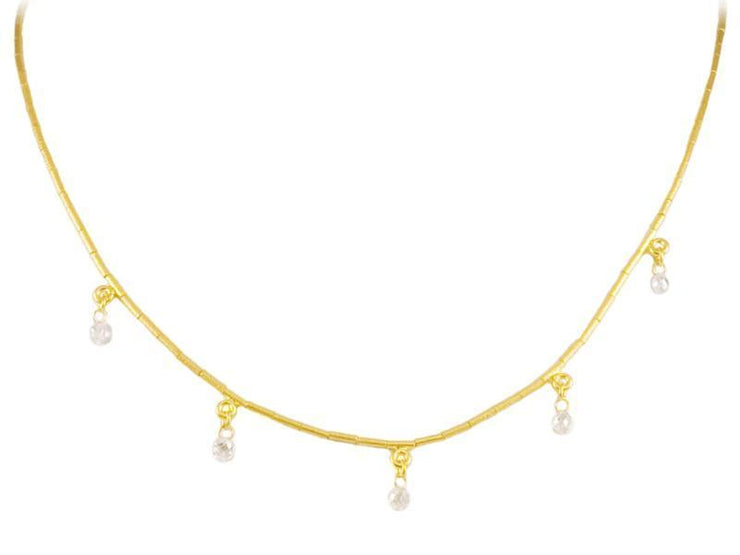 GURHAN Dew Diamond Gold Necklace, Five, Charm with Diamond