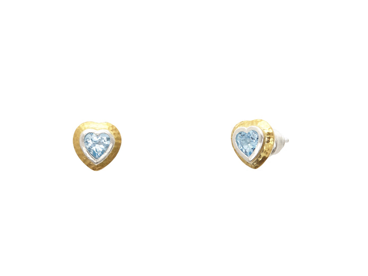 Classic jewelry, American designer, GURHAN Jewelry, Gurhan Orhan, Fiona Tilley, Turkish Jewelry, designer jewelry, Pure gold jewelry, 24karat gold jewelry, 24 karat gold jewelry, 24k gold jewelry, Sterling Silver jewelry, silver jewelry: GKE-OFP-159-SBT, Romance Stud Earrings, Blue Topaz, Heart, Faceted, Blue/Green, Earrings, Romance