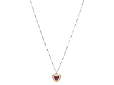 OFP  Romance Sterling Silver Necklace,  Pendant with Garnet- and 'kissed' with 24k Gold.