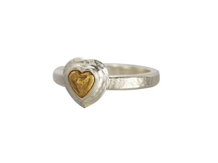 GURHAN Romance Sterling Silver Ring, Feature with No Stone- and 'kissed' with 24k Gold.-Ring-GURHAN-24k-gold-pure-gold-luxury-gold-24-karat-gold