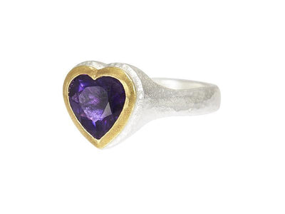 GURHAN Romance Sterling Silver Ring, Center Stone with Amethyst- and 'kissed' with 24k Gold.-Ring-GURHAN-24k-gold-pure-gold-luxury-gold-24-karat-gold