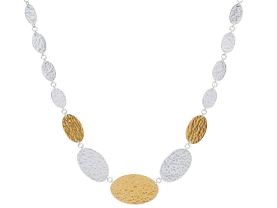 GURHAN Mango Sterling Silver Necklace,  Single Strand with No Stone, 'kissed' with 24k Gold.