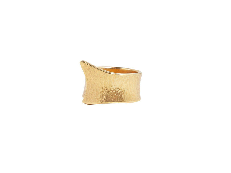 GURHAN Hourglass Gold Ring, Wide Overlap, Band with No Stone