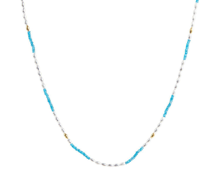 GURHAN Olive Sterling Silver Necklace, Beaded with Apatite- and 'kissed' with 24k Gold.-Necklace-GURHAN-24k-gold-pure-gold-luxury-gold-24-karat-gold