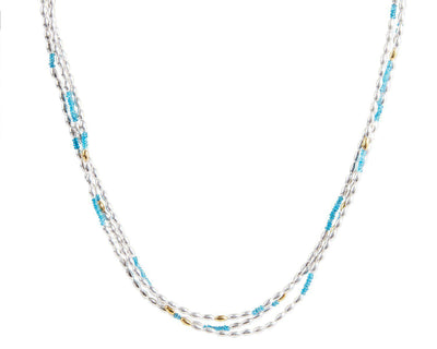 GURHAN Olive Sterling Silver Necklace, Multi-Strand with Apatite- and 'kissed' with 24k Gold.-Necklace-GURHAN-24k-gold-pure-gold-luxury-gold-24-karat-gold