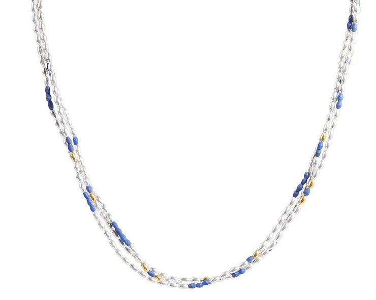 GURHAN Olive Sterling Silver Necklace, Multi-Strand with Lapis- and 'kissed' with 24k Gold.-Necklace-GURHAN-24k-gold-pure-gold-luxury-gold-24-karat-gold