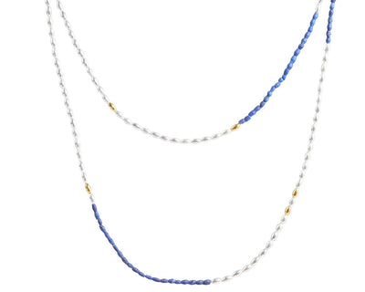 GURHAN Olive Sterling Silver Necklace, Beaded with Lapis- and 'kissed' with 24k Gold.-Necklace-GURHAN-24k-gold-pure-gold-luxury-gold-24-karat-gold