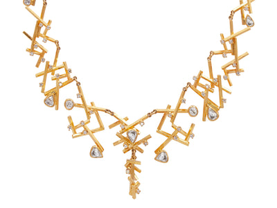 GURHAN Mikado Gold Necklace, large Collar with Diamond-Necklace-GURHAN-24k-gold-pure-gold-luxury-gold-24-karat-gold