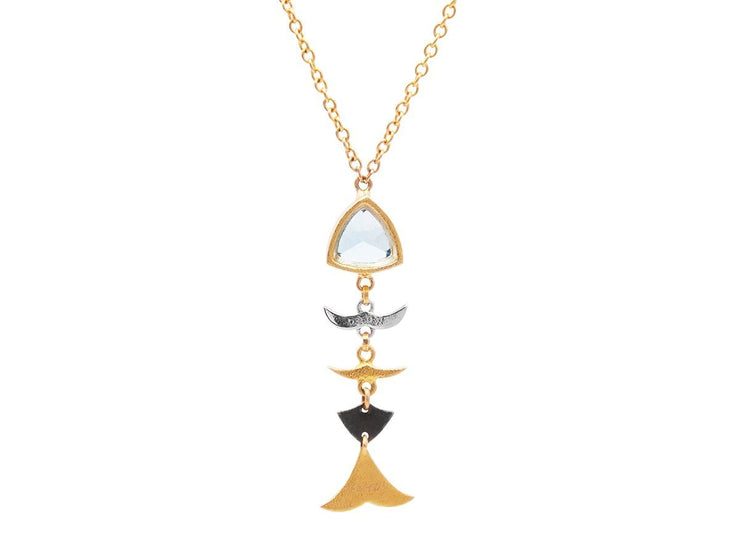 GURHAN Aquarius Gold Necklace, pave and colored stone Pendant with Topaz-Necklace-GURHAN-24k-gold-pure-gold-luxury-gold-24-karat-gold