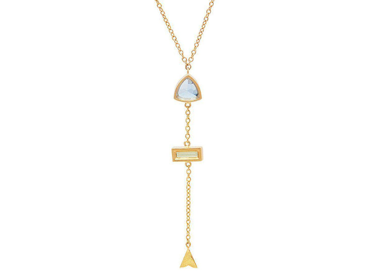 GURHAN Aquarius Gold Necklace, linear Y-Neck with Topaz-Necklace-GURHAN-24k-gold-pure-gold-luxury-gold-24-karat-gold