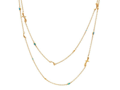 GURHAN Aquarius Gold Necklace, long Station with Opal-Necklace-GURHAN-24k-gold-pure-gold-luxury-gold-24-karat-gold