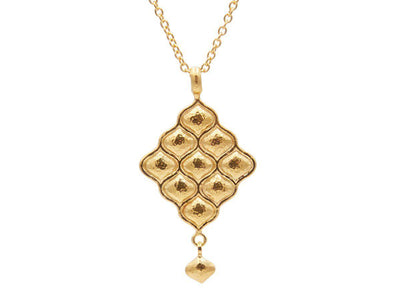 GURHAN Trellis Gold Necklace, long drop Pendant with No Stone-Necklace-GURHAN-24k-gold-pure-gold-luxury-gold-24-karat-gold