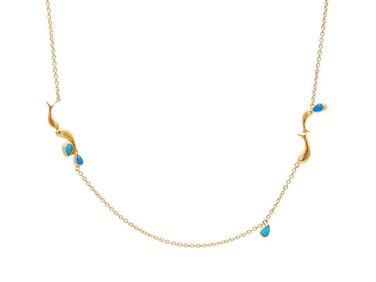 GURHAN Aquarius Gold Necklace, short Station with Opal-Necklace-GURHAN-24k-gold-pure-gold-luxury-gold-24-karat-gold