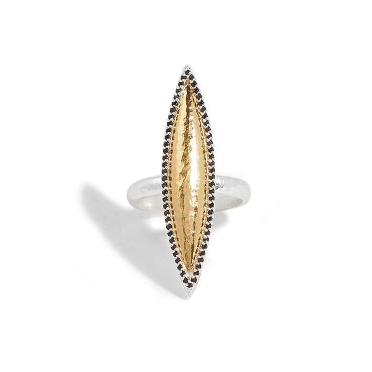 GURHAN Panther Sterling Silver Ring, marquise Feature with Onyx- and 'kissed' with 24k Gold.-Ring-GURHAN-24k-gold-pure-gold-luxury-gold-24-karat-gold