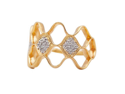 GURHAN Trellis Gold Ring, open Pave Feature with Diamond-Ring-GURHAN-24k-gold-pure-gold-luxury-gold-24-karat-gold