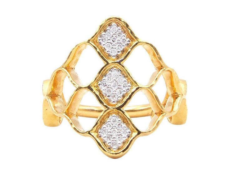 GURHAN Trellis Gold Ring, triple Pave Feature with Diamond-Ring-GURHAN-24k-gold-pure-gold-luxury-gold-24-karat-gold