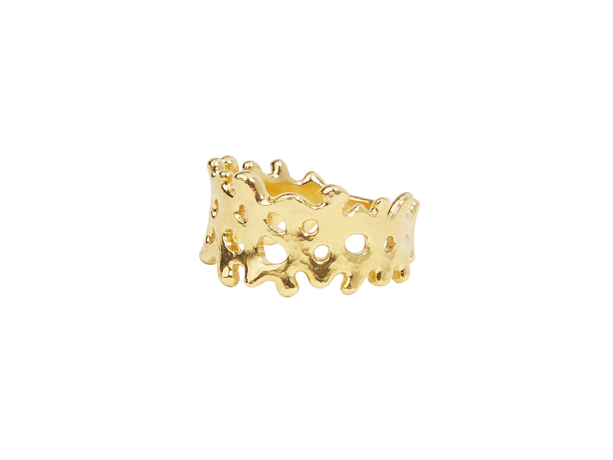 Liquid Gold Band Ring, Wide Cutout, with No Stone