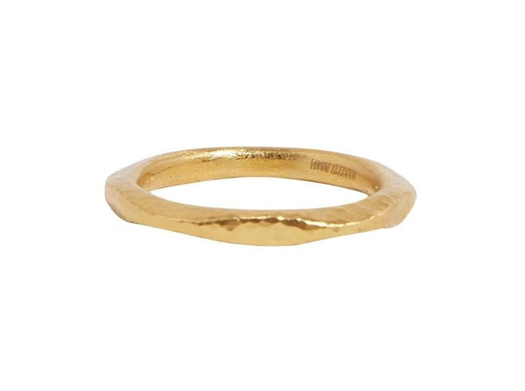 GURHAN Thor Gold Ring, extra wide hammered Stacking with No Stone-Ring-GURHAN-24k-gold-pure-gold-luxury-gold-24-karat-gold