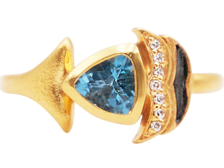 GURHAN Aquarius Gold Ring, pave and colored stone Feature with Topaz-Ring-GURHAN-24k-gold-pure-gold-luxury-gold-24-karat-gold