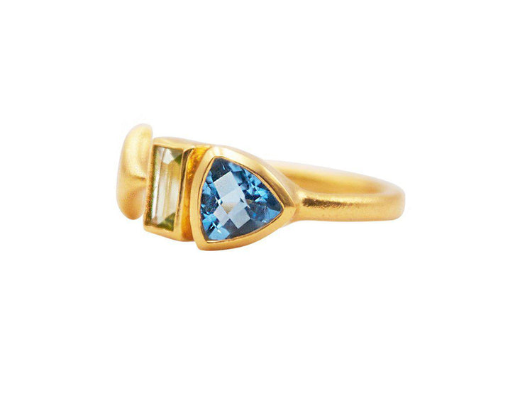 GURHAN Aquarius Gold Ring, multistone Feature with Topaz-Ring-GURHAN-24k-gold-pure-gold-luxury-gold-24-karat-gold