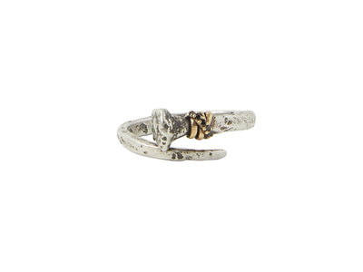 GURHAN Jewelry, Pure gold jewelry, 24karat gold jewelry, 24k gold jewelry, Sterling Silver jewelry, silver jewelry: JVR-SSBS-BDI10-2187, Nail ring, single nail with wrapped brass wire and black diamonds (0.03ct)