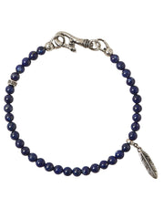 John Varvatos x GURHAN  Raven Sterling Silver Bracelet, feather feature Single Strand with Lapis