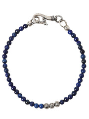 John Varvatos x GURHAN  Distressed Sterling Silver Bracelet, beaded Single Strand with Lapis