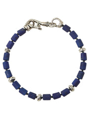 John Varvatos x GURHAN  Barrel Sterling Silver Bracelet, beaded Single Strand with Lapis