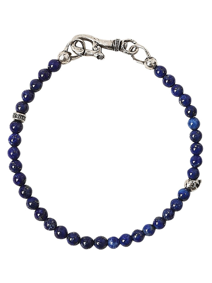 John Varvatos x GURHAN  Skull Sterling Silver Bracelet, beaded Single Strand with Lapis