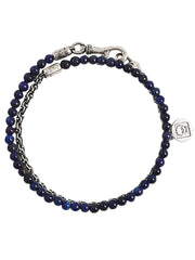 John Varvatos x GURHAN  Artisan Sterling Silver Bracelet, beaded Wrap with Lapis