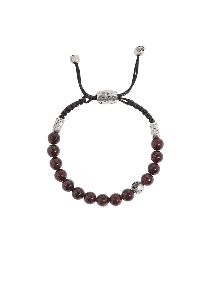 John Varvatos x GURHAN  Crack Sterling Silver Bracelet, beaded Adjustable with Garnet