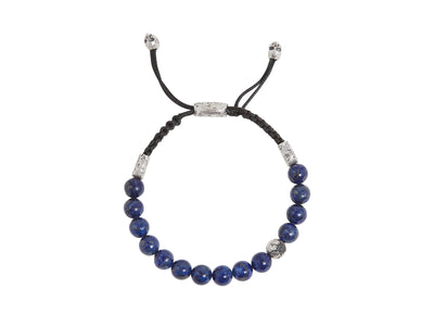 GURHAN Jewelry, Pure gold jewelry, 24karat gold jewelry, 24k gold jewelry, Sterling Silver jewelry, silver jewelry: JVB-SS-LAOS-5376.03, Bead bracelet, 8mm stone beads, 1 silver bead with crack feature in black diamond (0.144ct), JV text bead, skull clasp