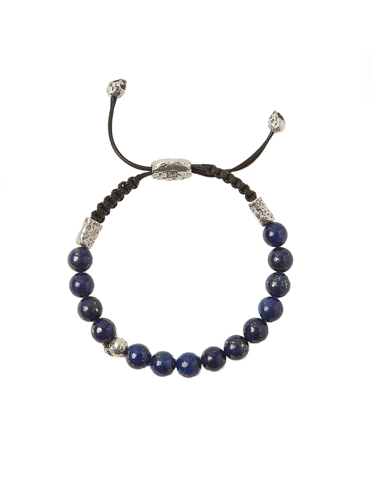 John Varvatos x GURHAN  Skull Sterling Silver Bracelet, beaded Adjustable with Lapis
