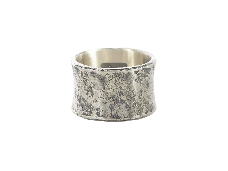 John Varvatos x GURHAN Distressed Sterling Silver Ring, wide Band with No Stone-Ring-GURHAN-24k-gold-pure-gold-luxury-gold-24-karat-gold