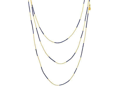 GURHAN Waterfall Gold Necklace, Beaded with Lapis-Necklace-GURHAN-24k-gold-pure-gold-luxury-gold-24-karat-gold