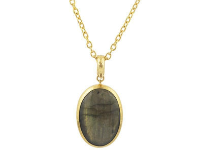 GURHAN One-of-a-Kind Rune Gold Necklace, Pendant with Labradorite-Necklace-GURHAN-24k-gold-pure-gold-luxury-gold-24-karat-gold