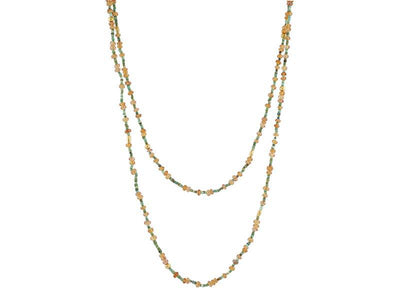GURHAN Flurries Gold Necklace, Beaded with Sapphire-Necklace-GURHAN-24k-gold-pure-gold-luxury-gold-24-karat-gold