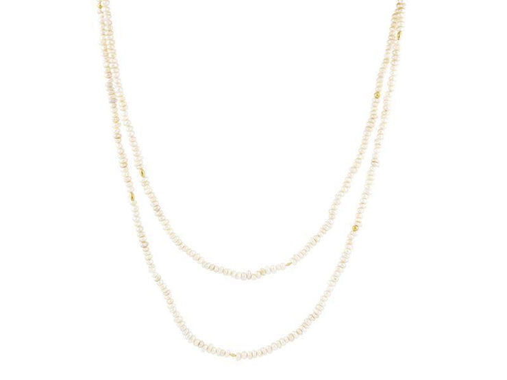 GURHAN Flurries Gold Necklace, Beaded with Pearl-Necklace-GURHAN-24k-gold-pure-gold-luxury-gold-24-karat-gold