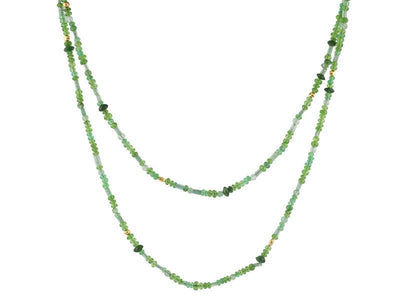 GURHAN Flurries Gold Necklace, Beaded with Emerald-Necklace-GURHAN-24k-gold-pure-gold-luxury-gold-24-karat-gold